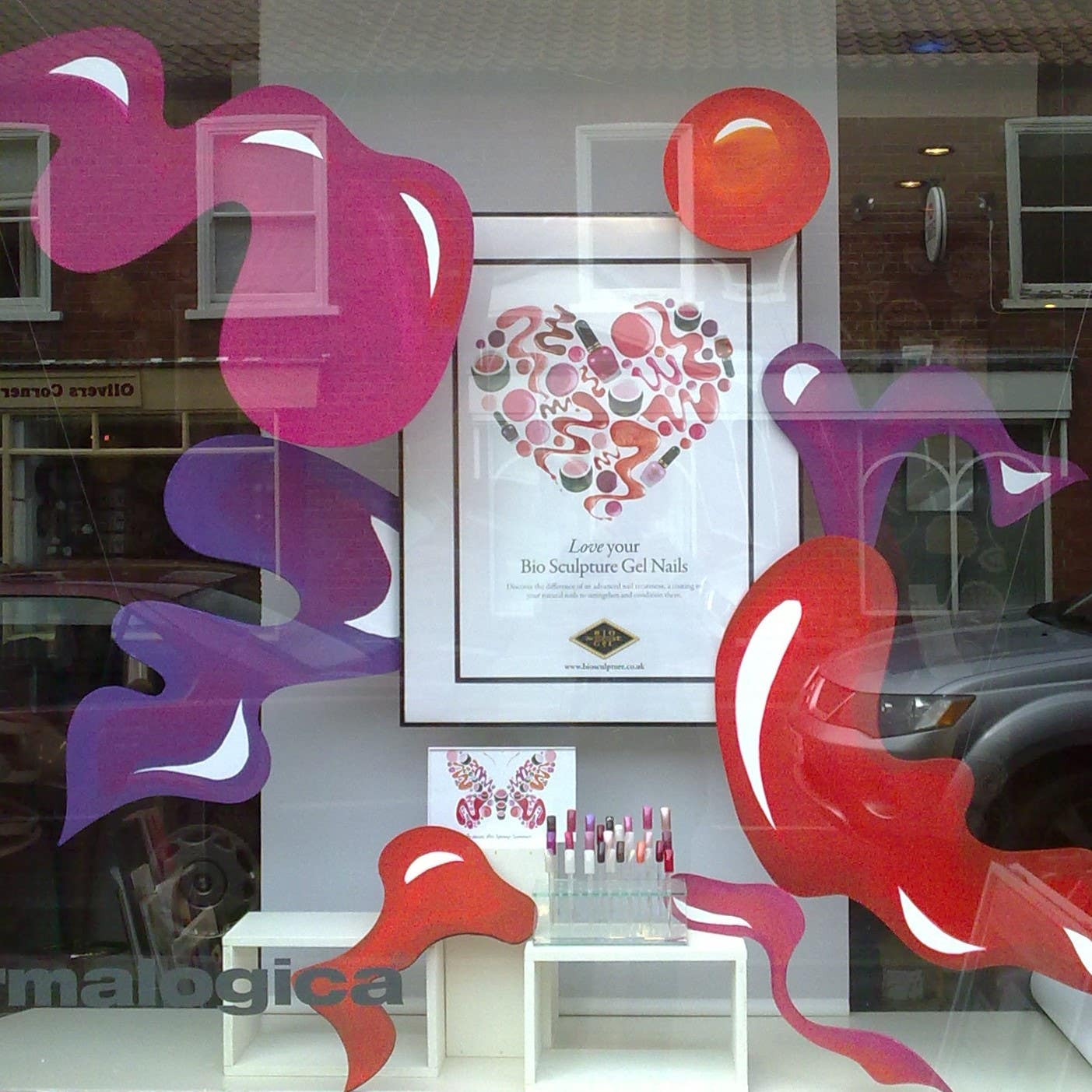 Gellish nails service window display - inspiration from poster and no product