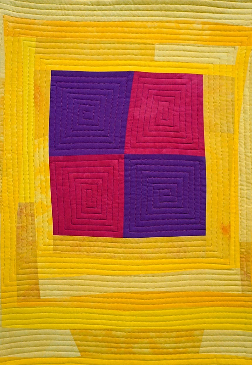 Modern quilt made with dyed fabric