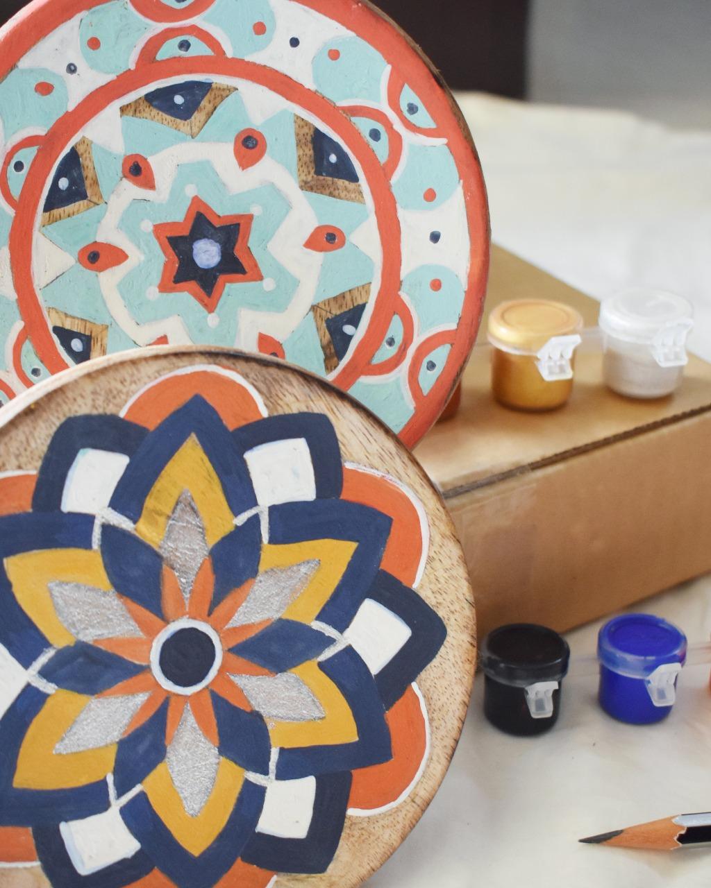 Mandala on Wooden Plate