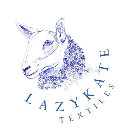 A Bluefaced Leicester sheep and Lazykate Textiles text