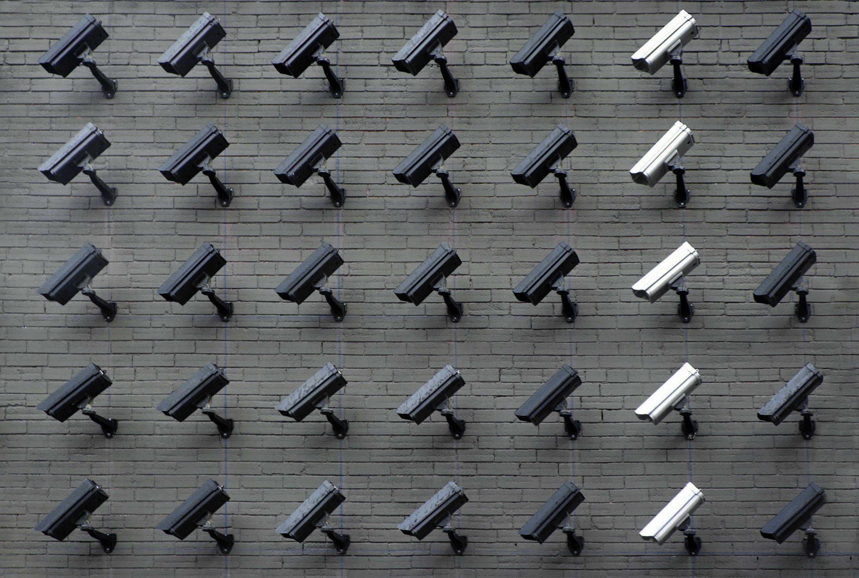 dark and light CCTV camera wall