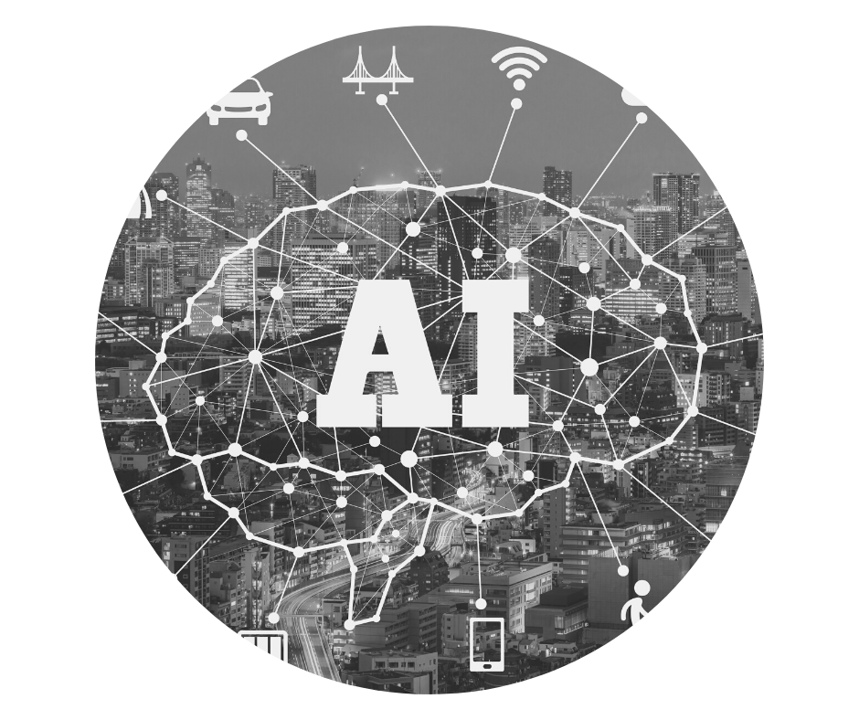 AI letters on cityscape background with connector lines