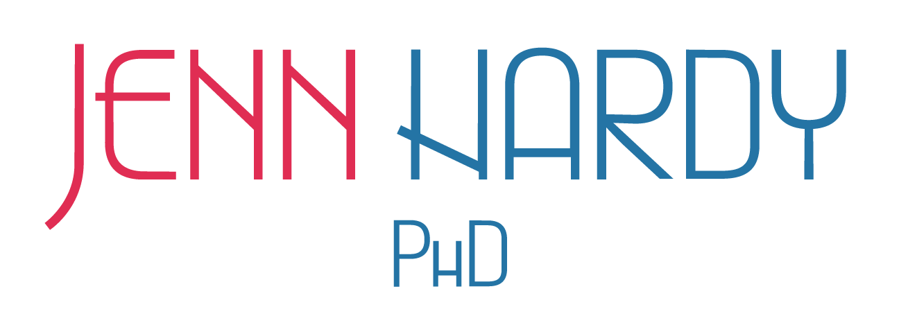 logo with the words Jenn Hardy PhD in red and blue