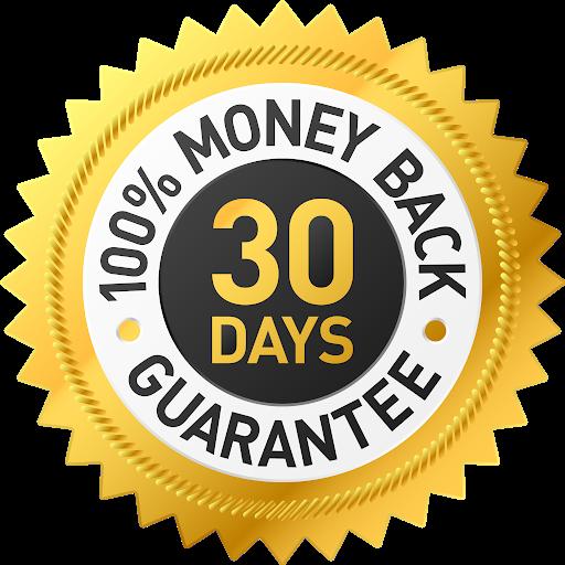 30 Days.  100% Money Back Guarantee Gold Stamp.