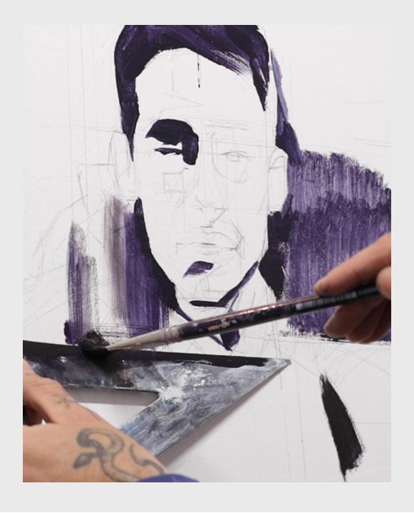 Artista Juan Ruiz Pintando