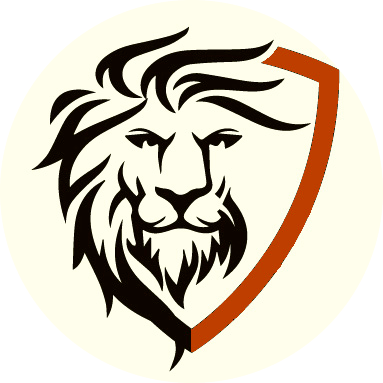 Lion head and shield