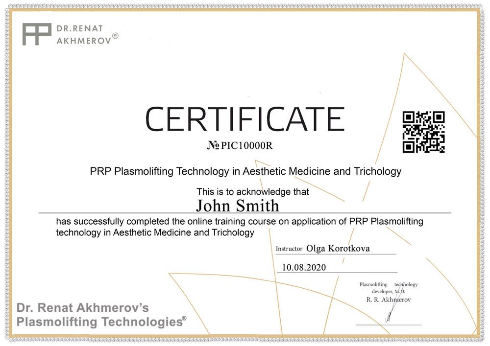 prp plasmolifting certificate