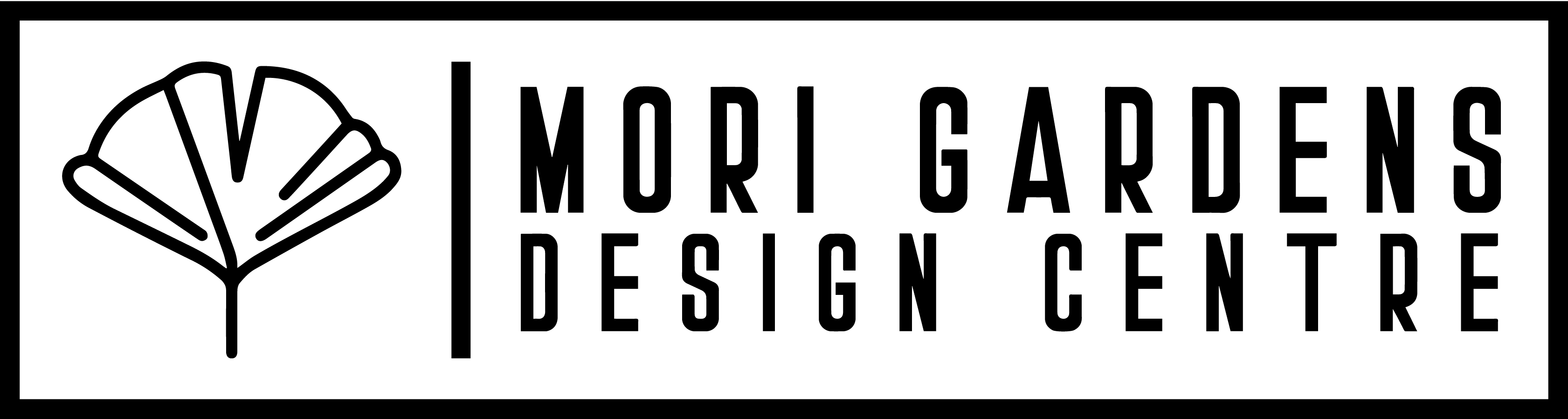 Mori Gardens Design Centre Logo. Ginkgo leaf logo