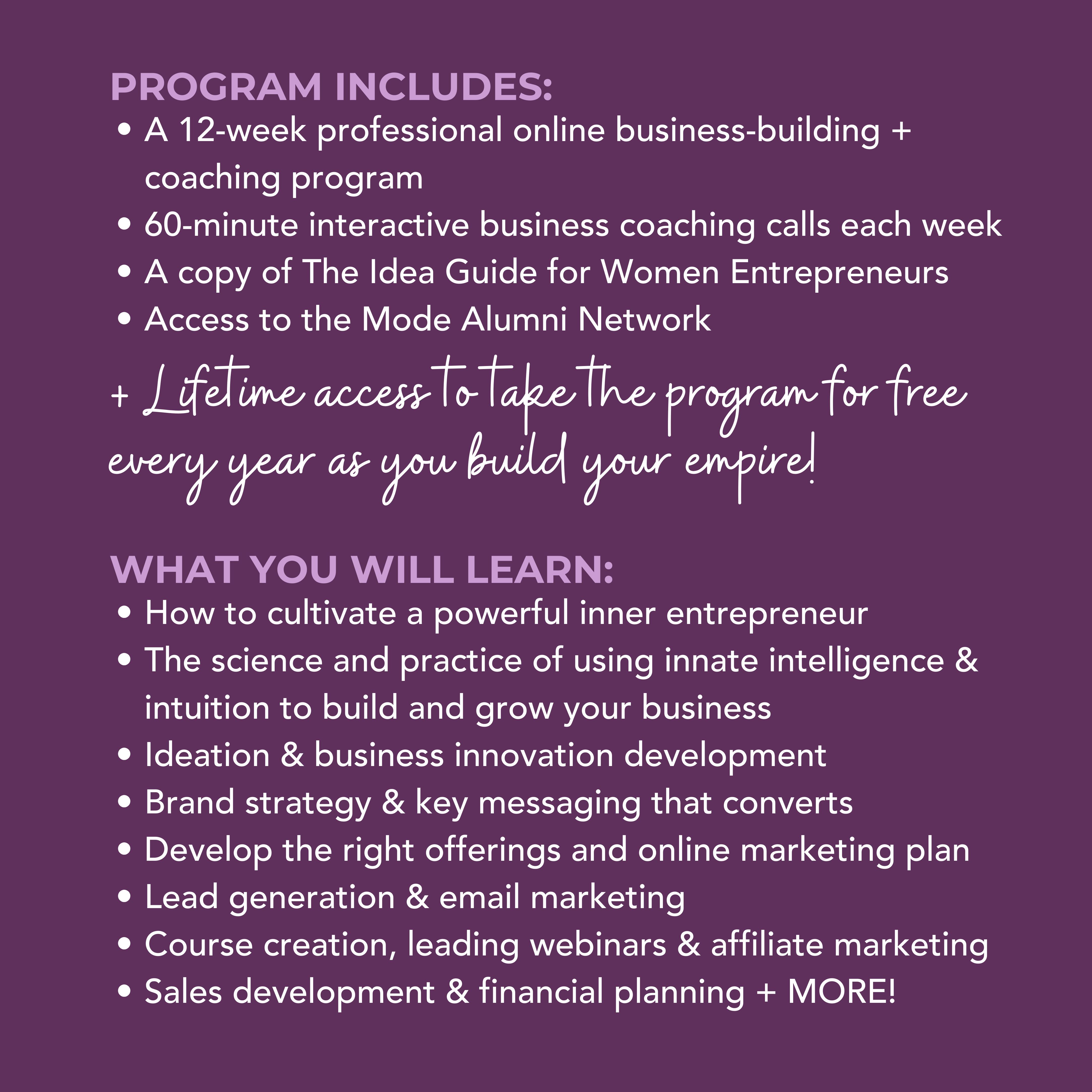 Entrepreneur Mode Program details