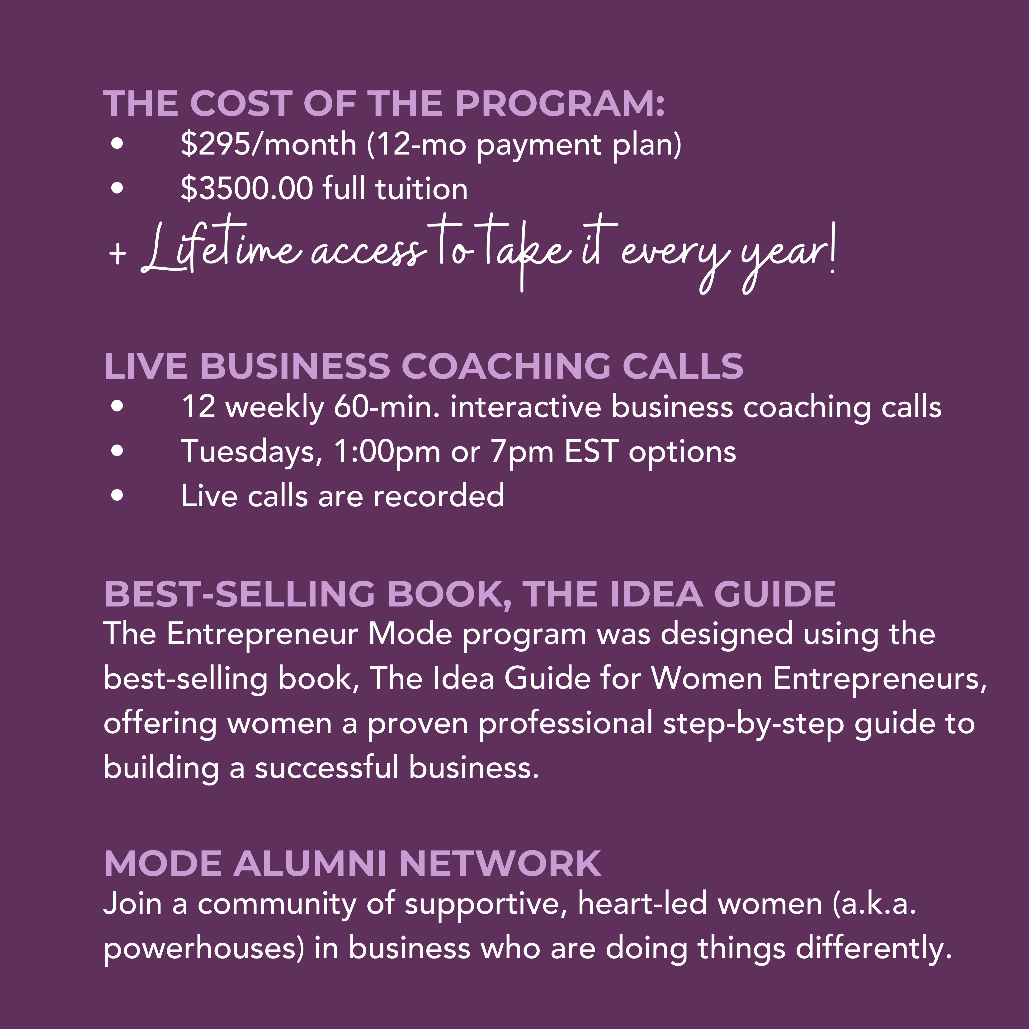 Program start dates, class call schedule and mentorship call schedule