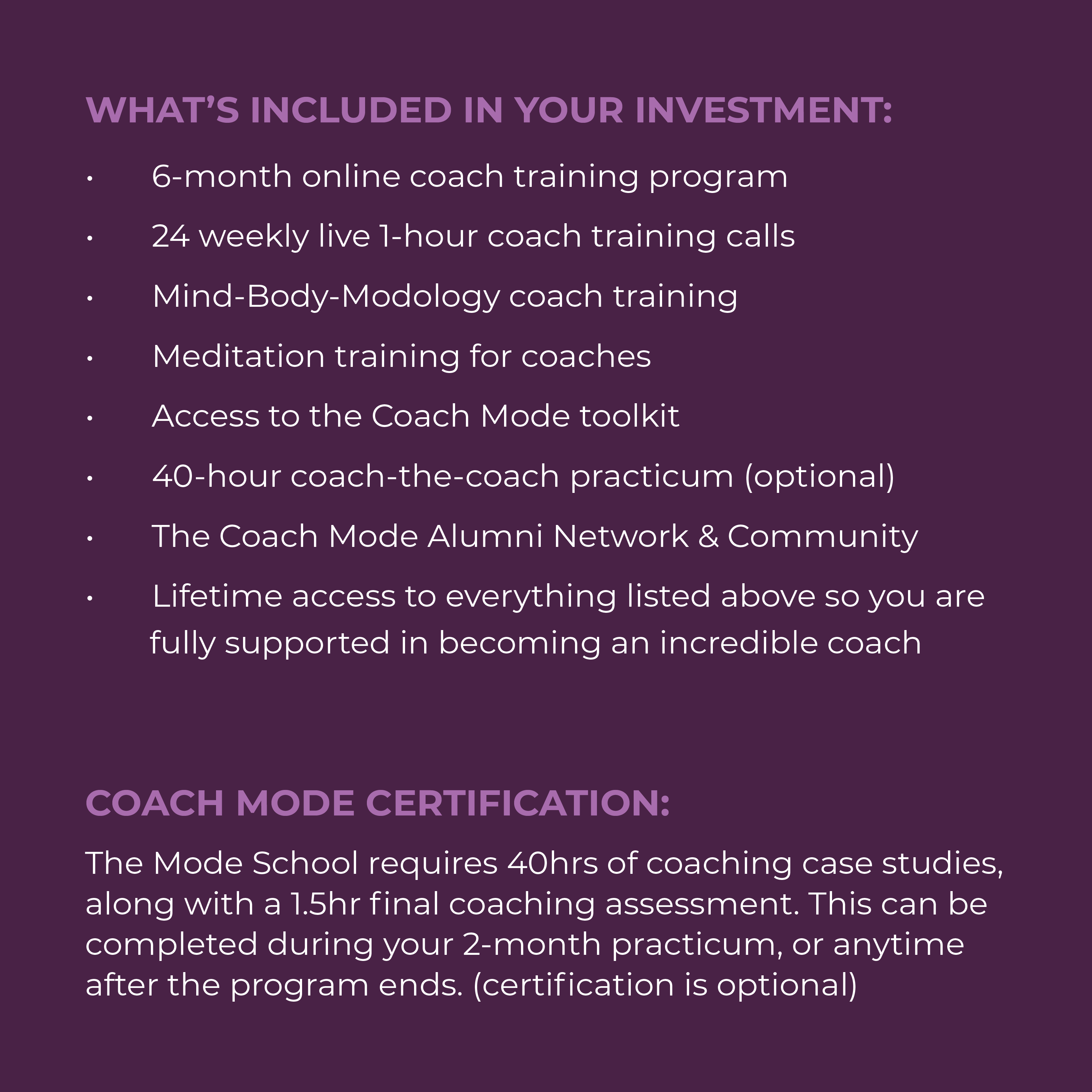 What is included in your investment and the cost of the program