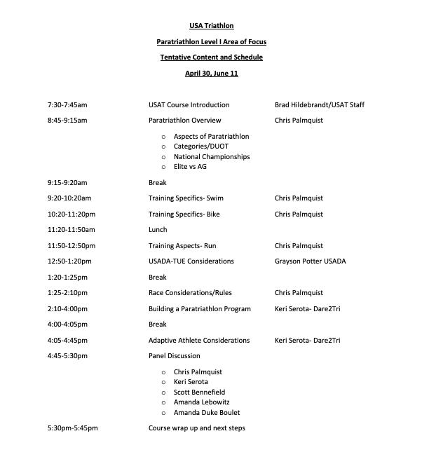 Paratriathlon Clinic Schedule