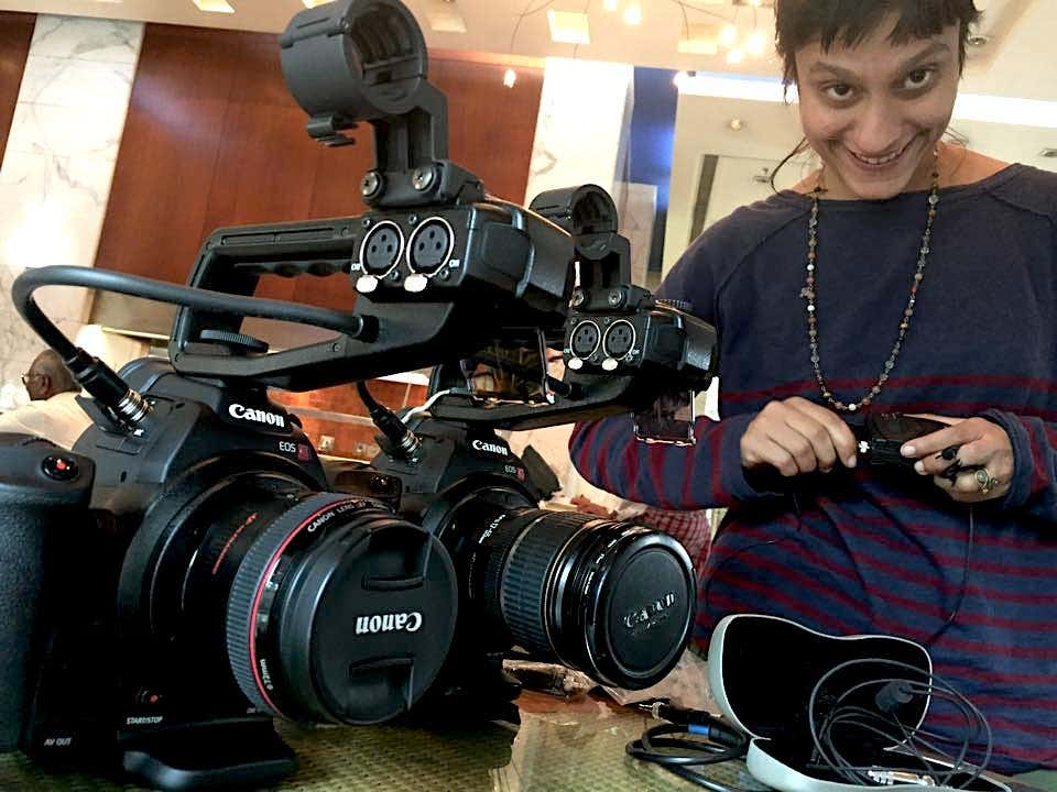 Ila with canon camera filming rig by Andrew Smith
