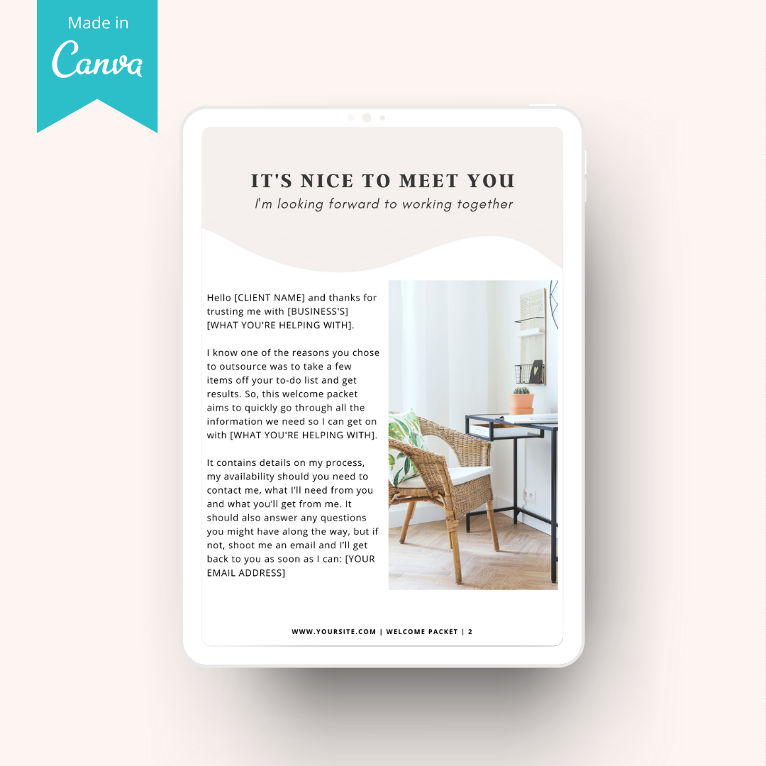 client welcome packet page