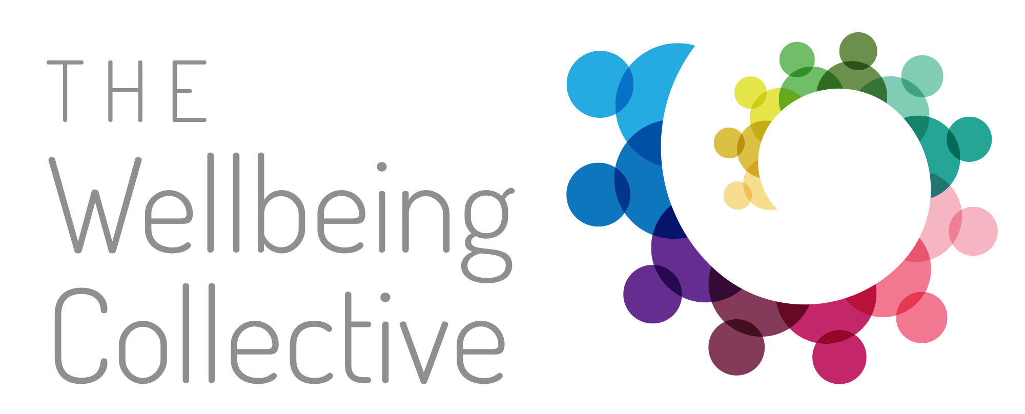 TWBC logo with rainbow colour circle of people joined together