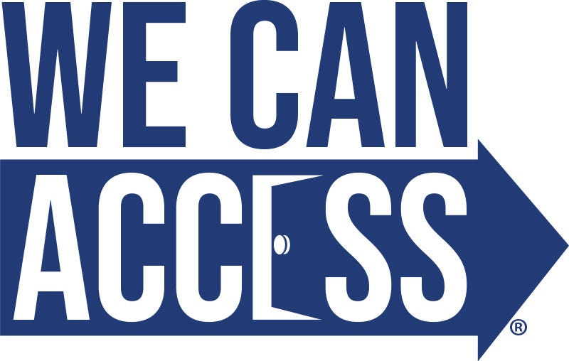 the we can access logo, comprising the words we can access and a blue arrow.