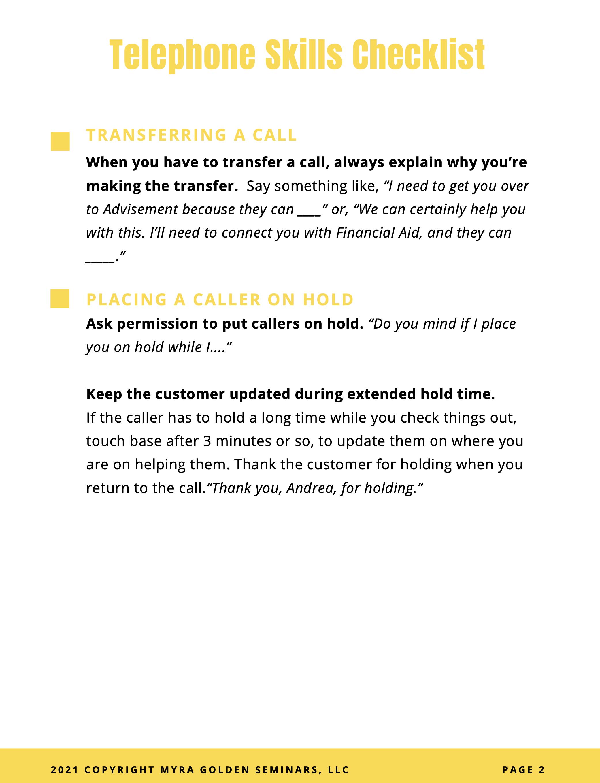 Telephone Skills checklist sheet