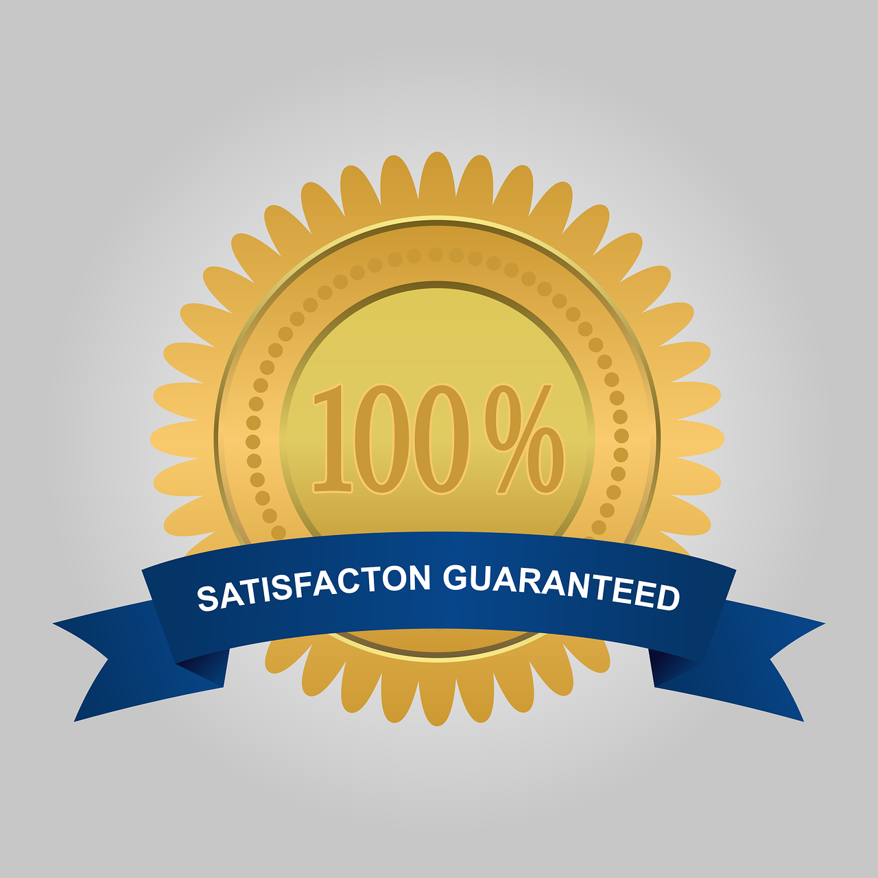 100% satisfaction guarantee on a gold label with navy  blue banner