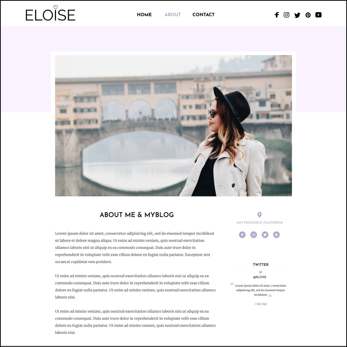 Blog page design. Image of a young lady in a bridge.