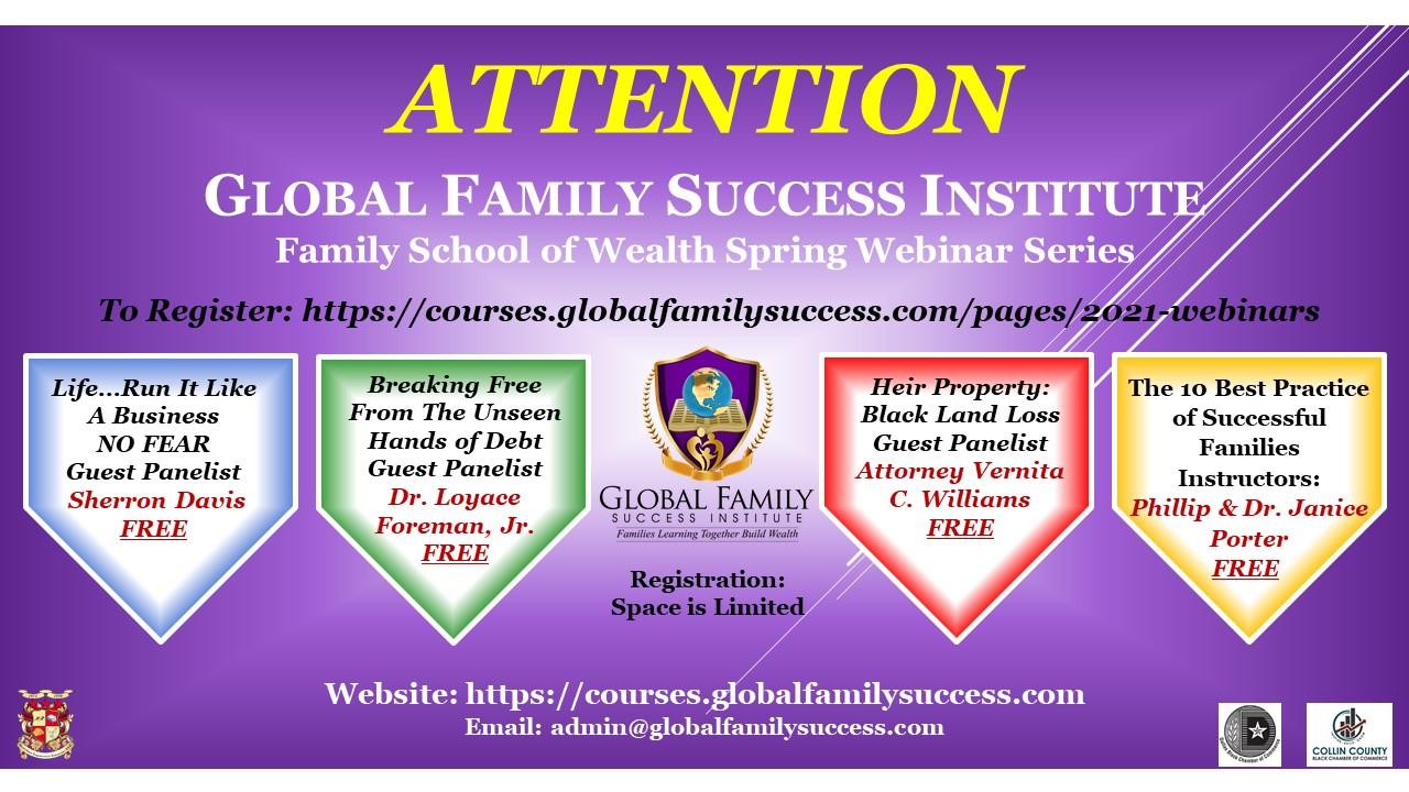 Global Family Success Institute: Family School of Wealth Webinar Series
