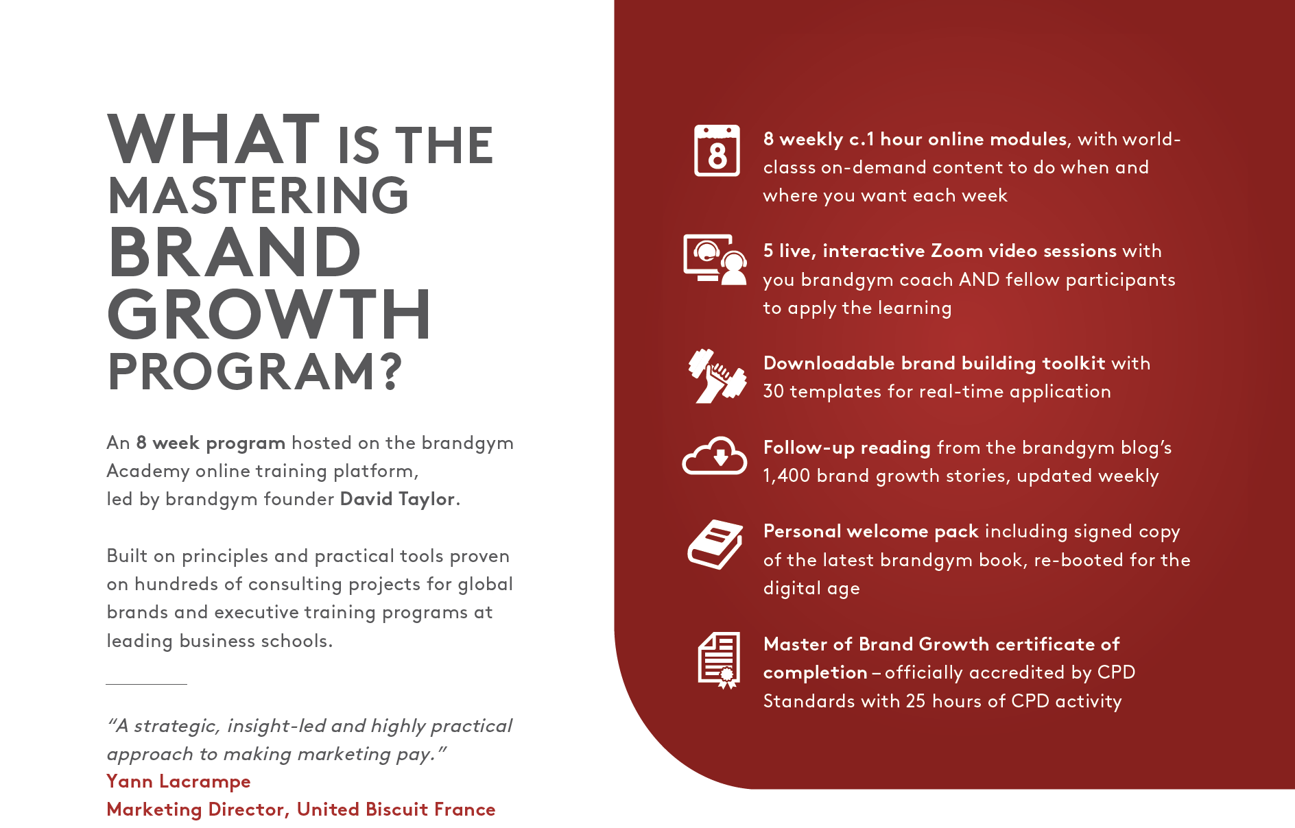 What the MBG program involves: blend of world-class online content and live Zoom sessions to apply the learning.