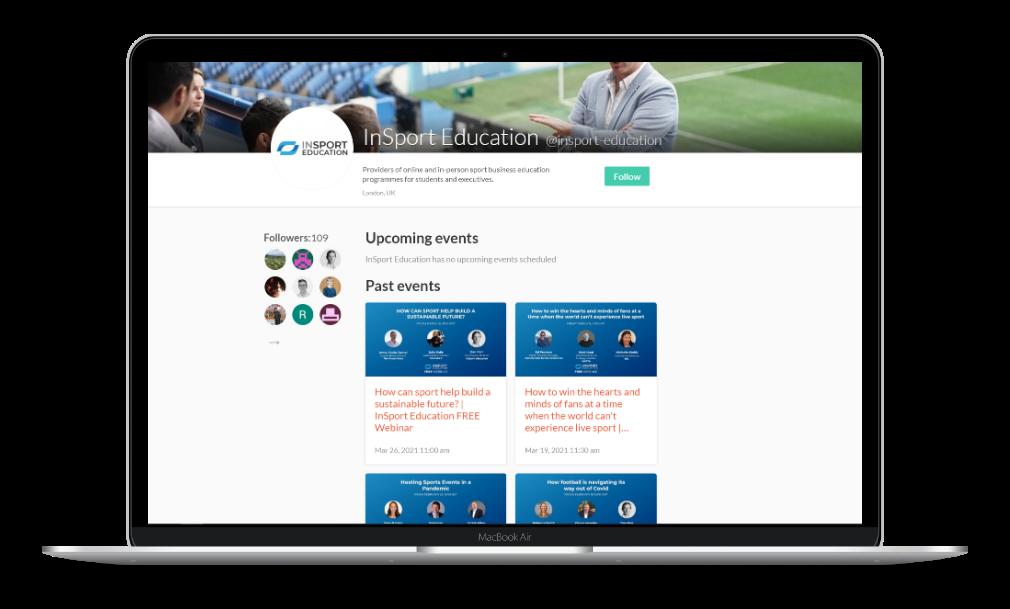 InSport Education Crowdcast webinar page