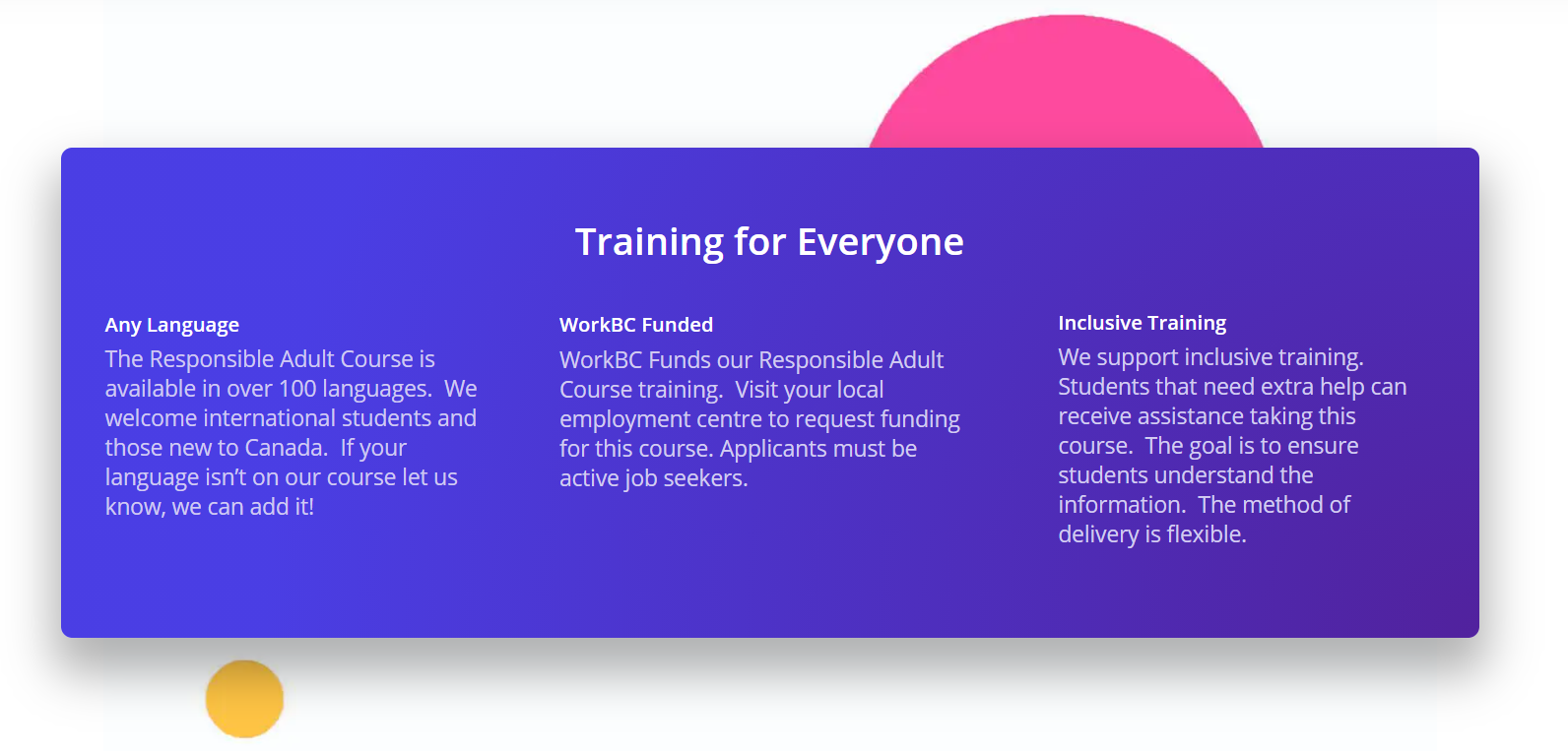Inclusive Training | Responsible Adult Course
