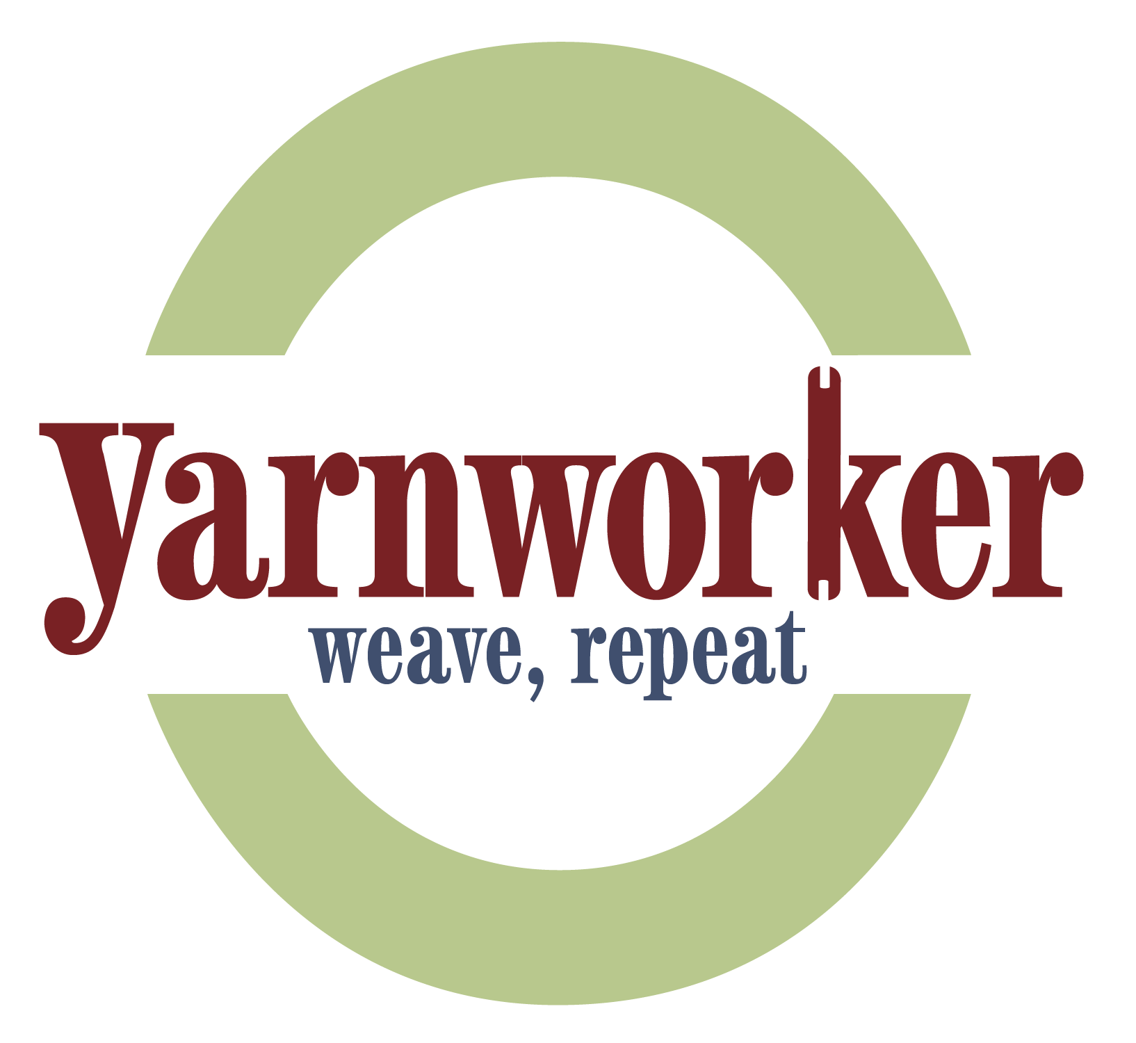 Yarnworker logo: a green half circle above and below with the word Yarnworker with