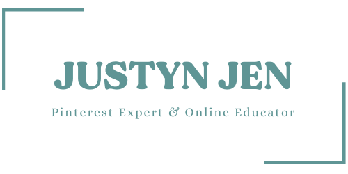 Rectangle with the words Justyn Jen and beneath Pinterest Expert and Online Educator.