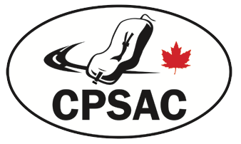 White oval with black border; an outline of a car seat has a swoosh of pavement and a red maple leaf flanking it; the letters CPSAC is below in black