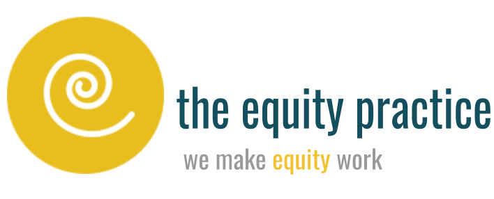 Logo of the equity practice, includes goldenrod spiral and tag