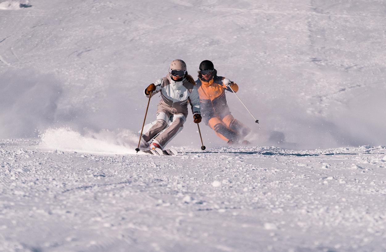 Nina Gigele and Benni Walch skiing Pitztal Glacier, ONYONE