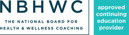 the national board for health and wellness coaching: approved continuing education provider, NBHWC logo