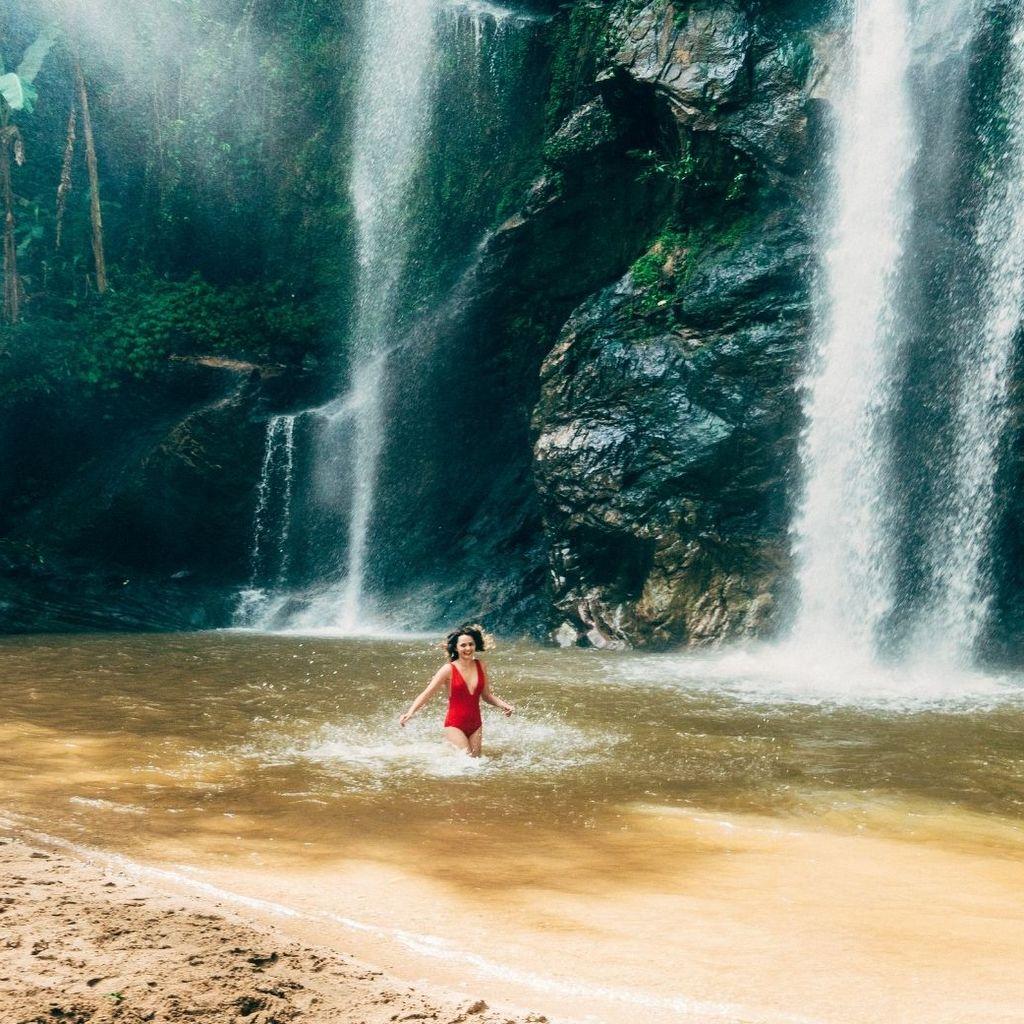 Swimming waterfall