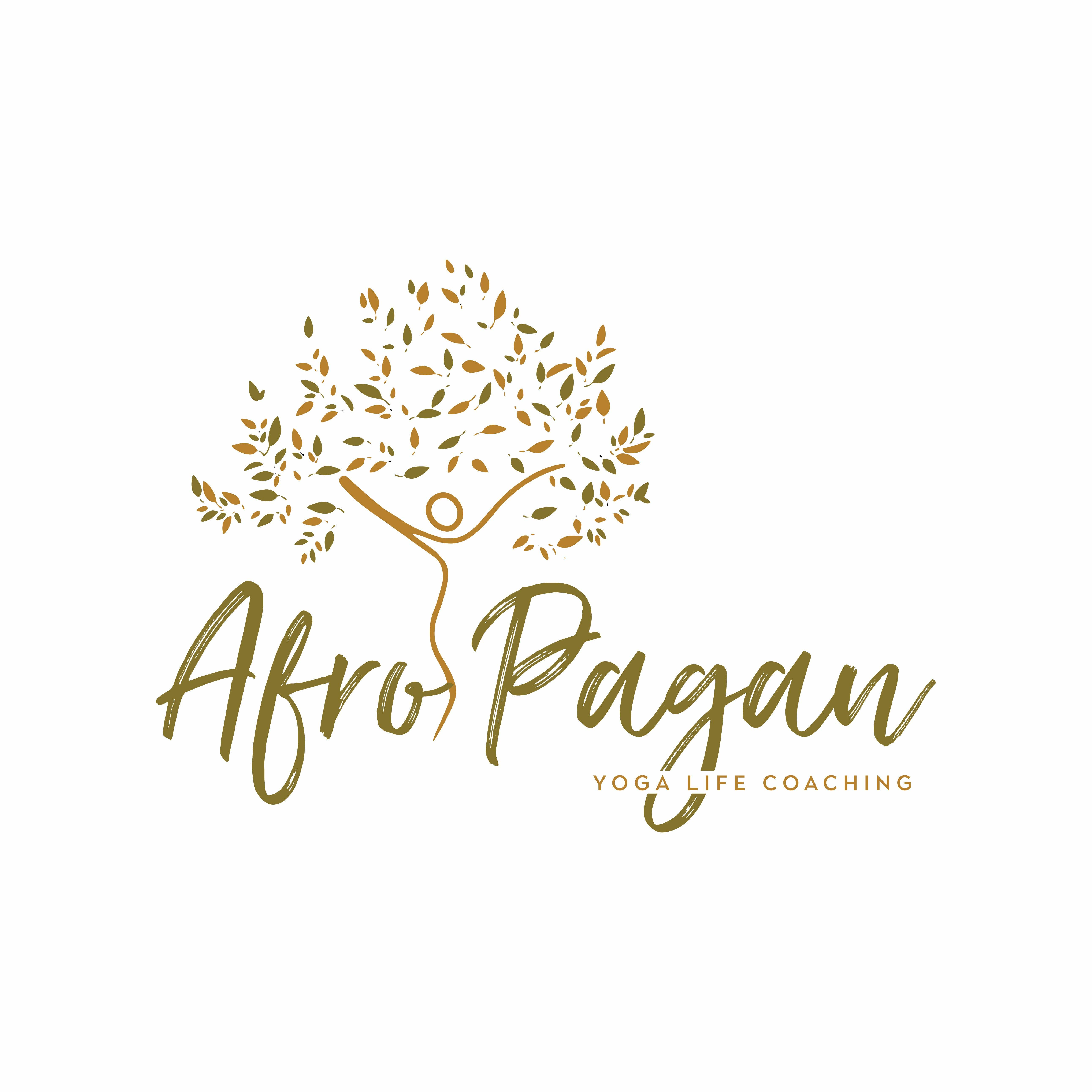 Logo with a person jumping with arms in the air. It says AfroPagan with tagline, Yoga Life Coaching
