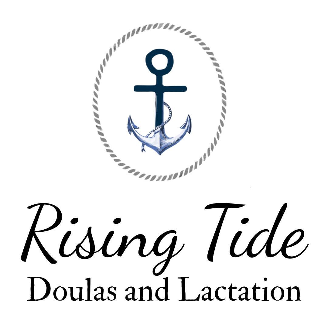 our anchor logo in a rope circle with the words 'rising tide doulas and lactation' underneath it