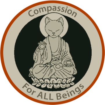 cat buddha with text: Compassion for all Beings