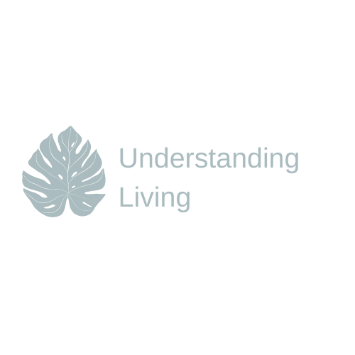 Light blue cartoon monstera leaf with the words understanding living next to it in the same colour.