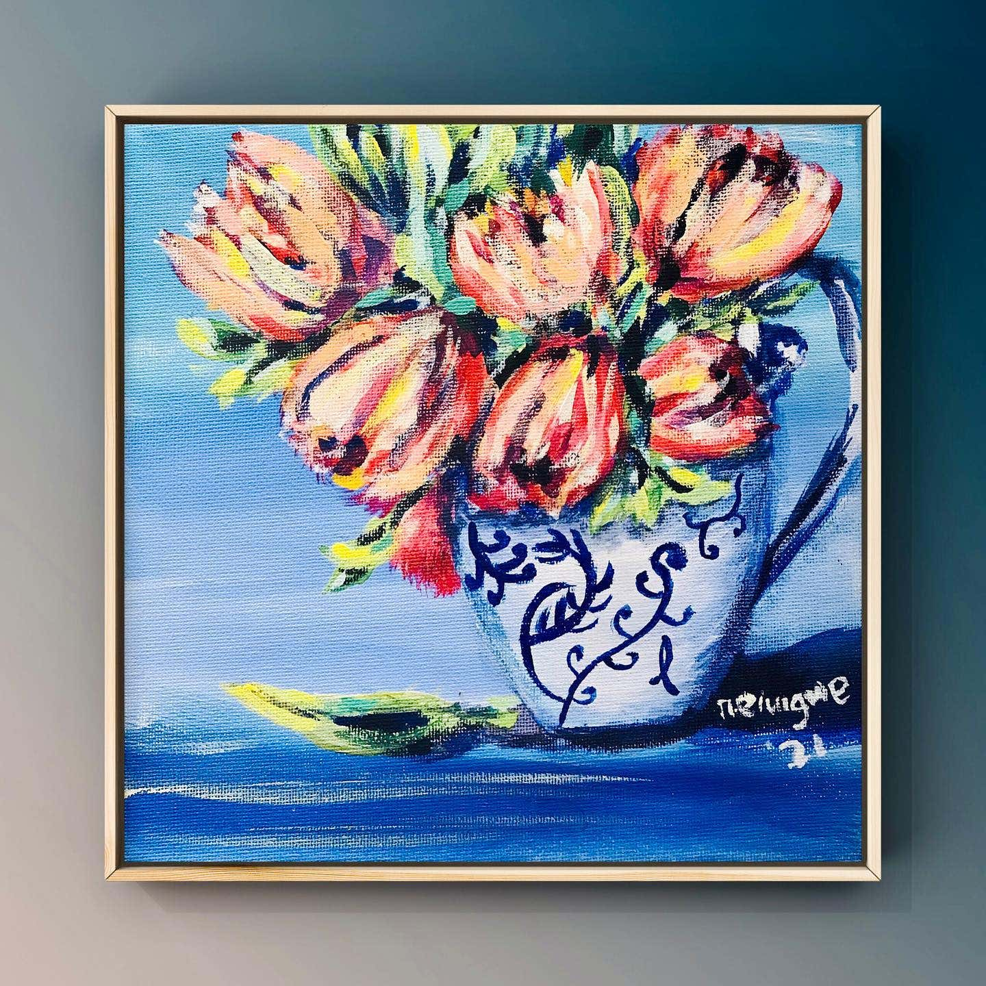 painted flowers in a vase