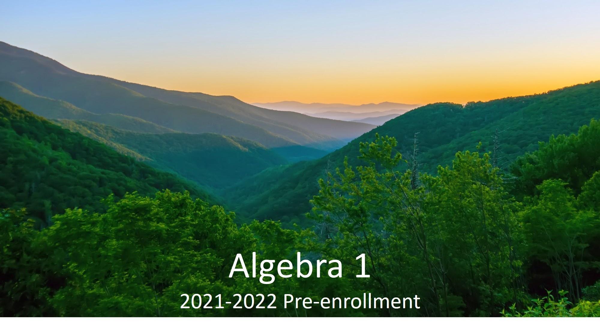 Algebra 1, Section 2: 2021-2022 Pre-enrollment