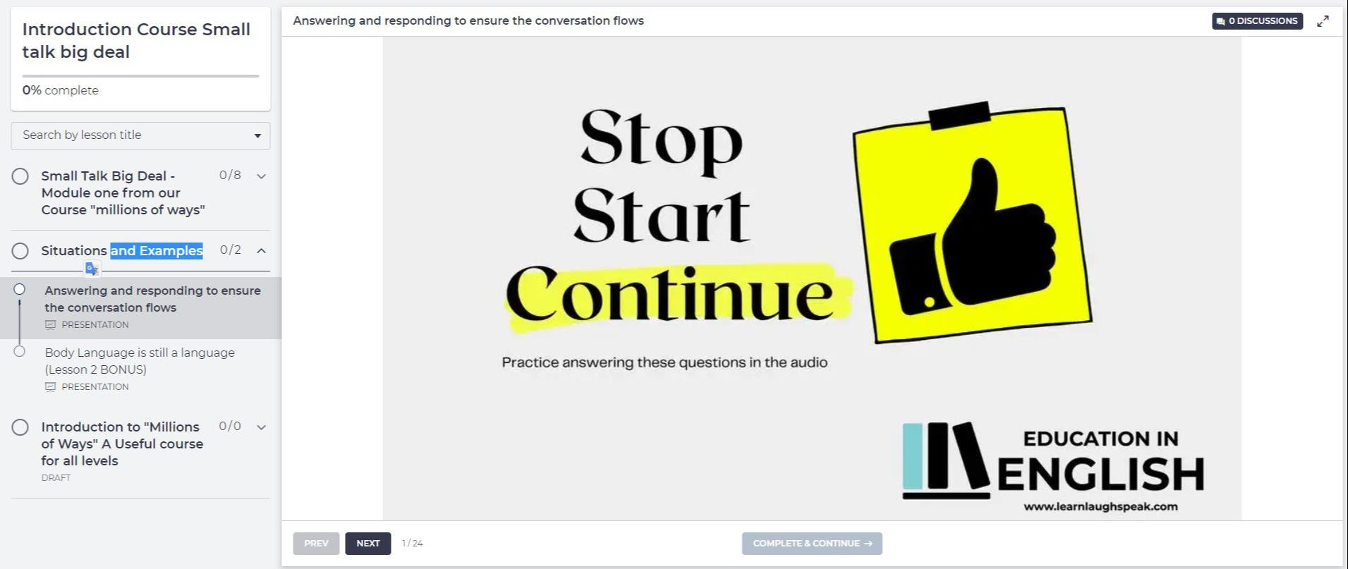 Audio pre-recorded with video explanations