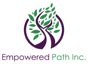 Logo is a stylized tree with green leaves and a purple trunk which arches up from the ground around most of the tree forming a circle, with a small gap where the trunk touches the circle. A few of the green leaves overlap the top of the purple circle. Text reads Empowered Path Inc.