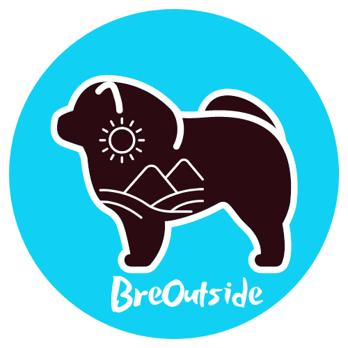 BreOutside Logo. Black Chow Chow dog with outlines of a mountain and sun insidee in white. Blue circle background.