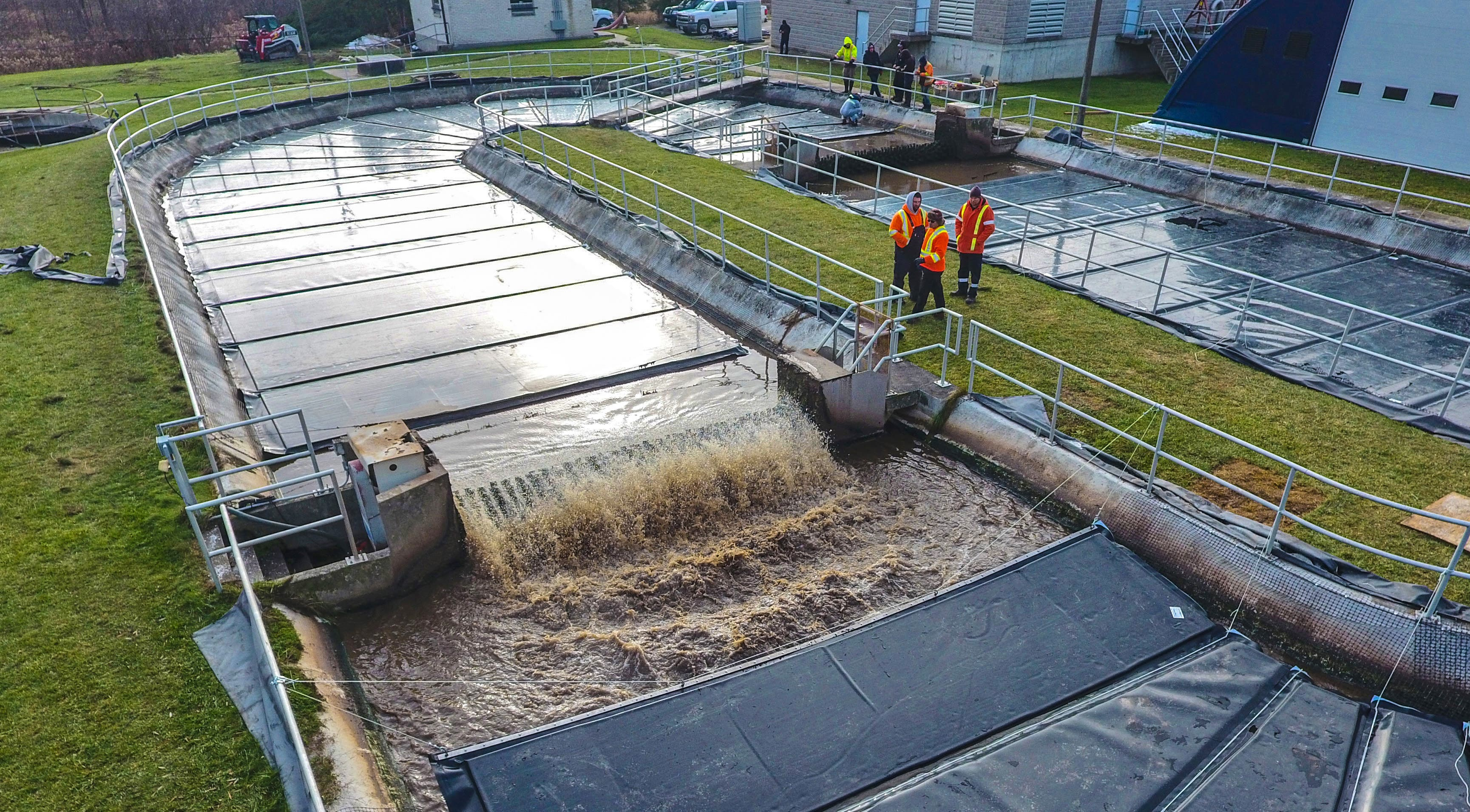 Wastewater being treated at a facility
