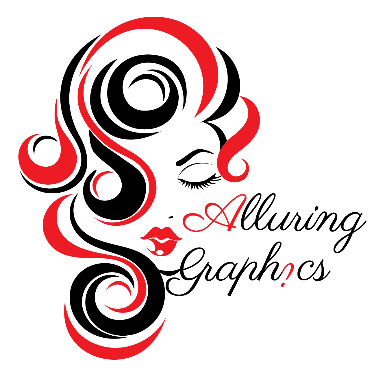 Alluring Graphics Logo. Woman with flowing curls or red and black hair