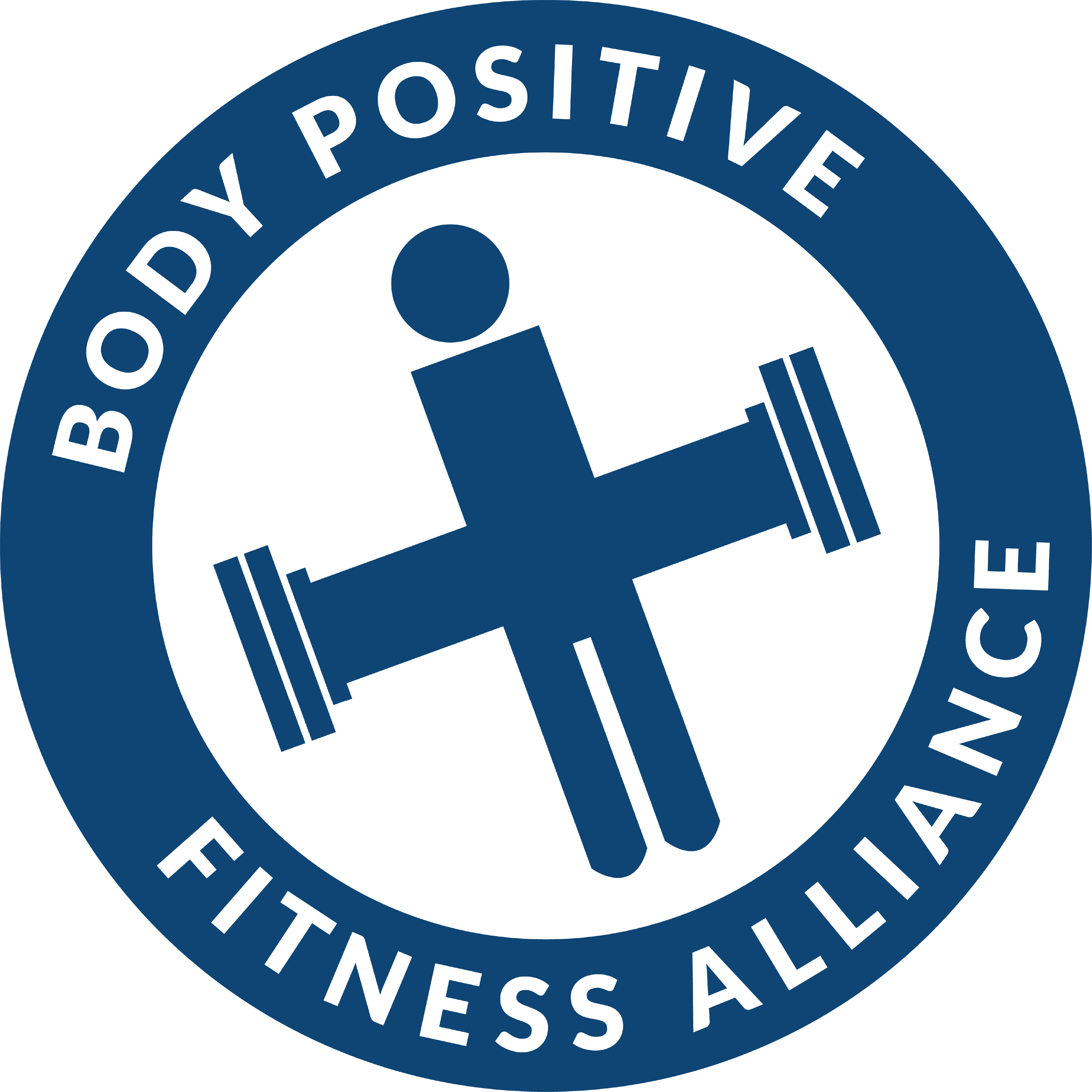Blue and white Body Positive Fitness Alliance Logo with the Pillar Person