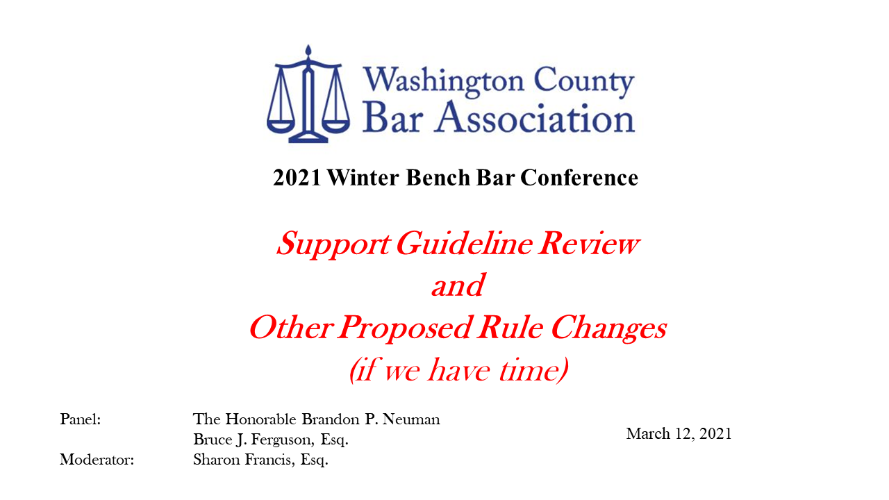 2021 PA Support Guidelines Review (1 PA Substantive CLE Credit)