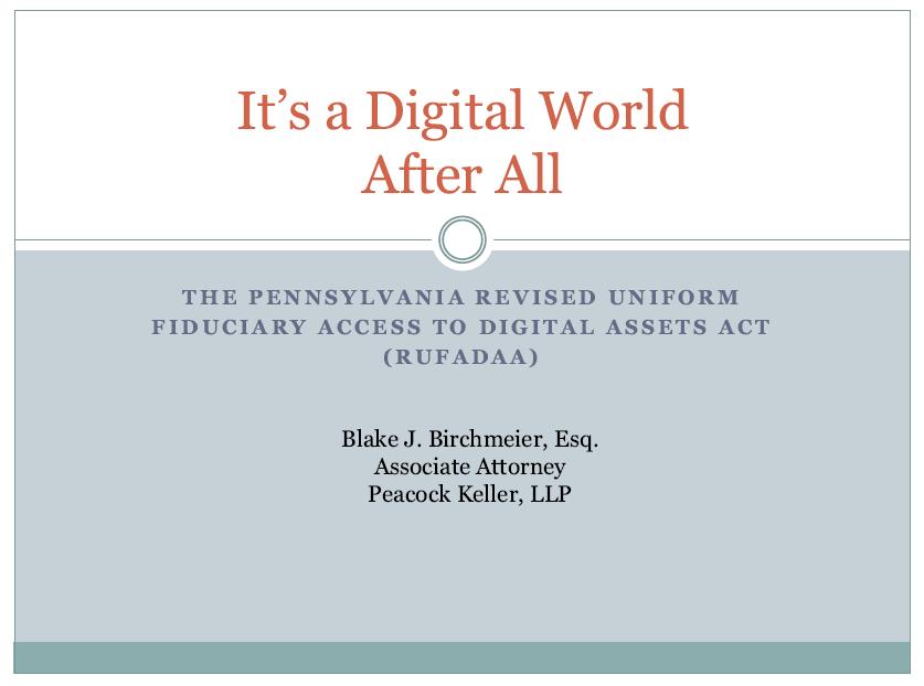Digital Assets (1 PA Substantive CLE Credit)
