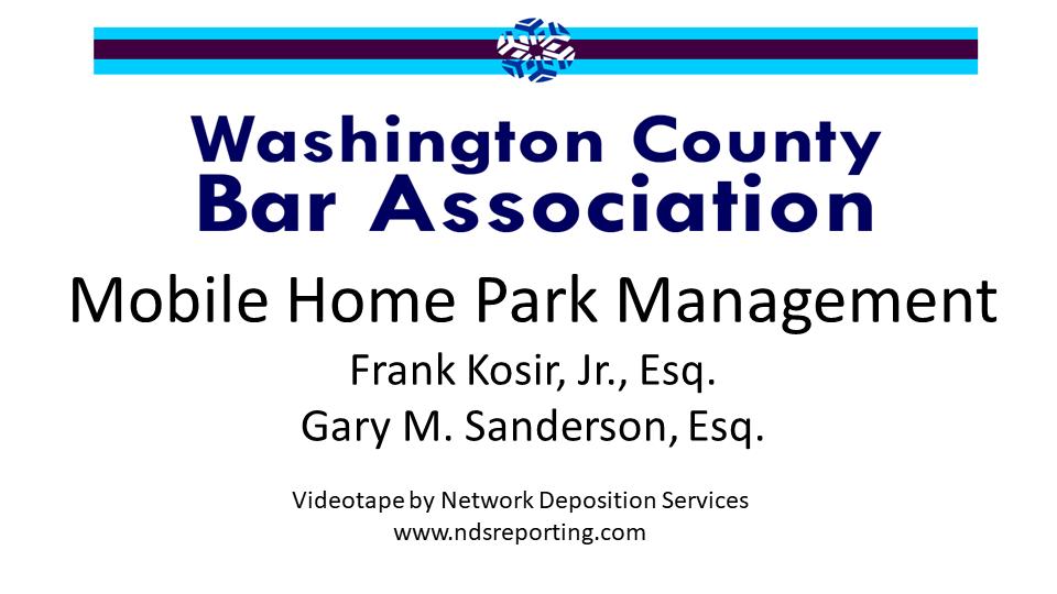 Mobile Home Park Management (1 PA Substantive CLE Credit)