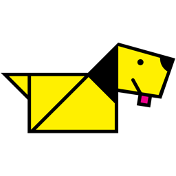 Yellow origami dog